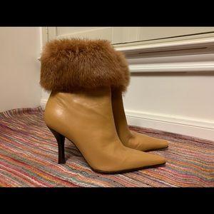 Antonio Melani Leather Ankle Boots with Fur Trim